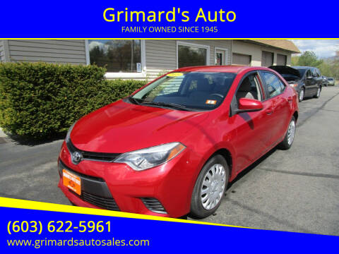 2015 Toyota Corolla for sale at Grimard's Auto in Hooksett NH