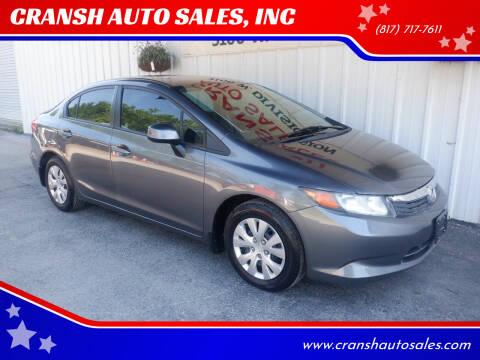 2012 Honda Civic for sale at CRANSH AUTO SALES, INC in Arlington TX