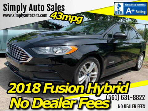 2018 Ford Fusion Hybrid for sale at Simply Auto Sales in Palm Beach Gardens FL