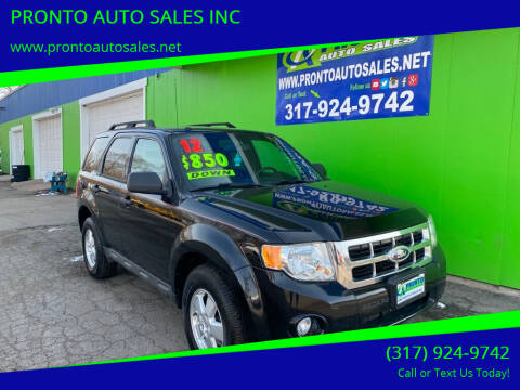 2012 Ford Escape for sale at PRONTO AUTO SALES INC in Indianapolis IN