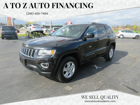 2014 Jeep Grand Cherokee for sale at A to Z Auto Financing in Waterford MI