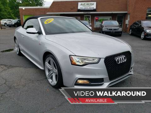 2013 Audi S5 for sale at A-Z Auto Sales in Newport News VA