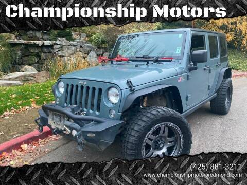 2015 Jeep Wrangler Unlimited for sale at Mudarri Motorsports - Championship Motors in Redmond WA