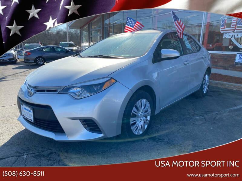 2016 Toyota Corolla for sale at USA Motor Sport inc in Marlborough MA