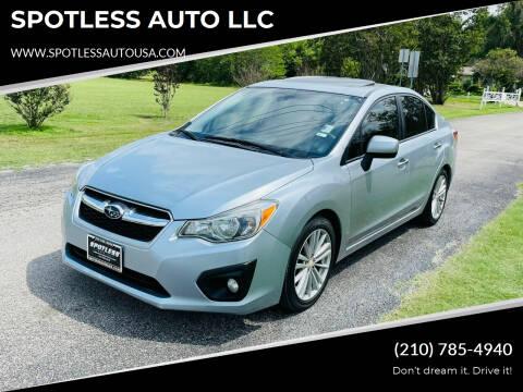 2014 Subaru Impreza for sale at SPOTLESS AUTO LLC in San Antonio TX