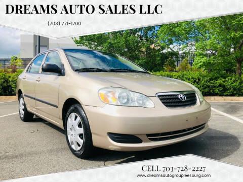 2006 Toyota Corolla for sale at Dreams Auto Sales LLC in Leesburg VA
