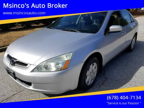 2003 Honda Accord for sale at Msinco's Auto Broker in Snellville GA