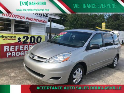 2009 Toyota Sienna for sale at Acceptance Auto Sales Douglasville in Douglasville GA