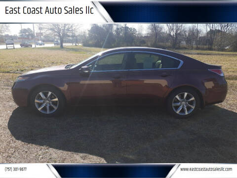 2012 Acura TL for sale at East Coast Auto Sales llc in Virginia Beach VA