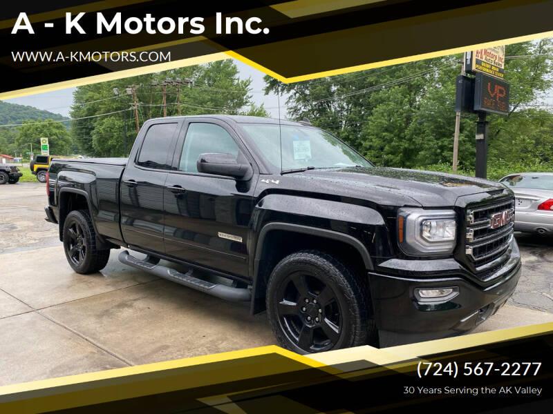 2018 GMC Sierra 1500 for sale at A - K Motors Inc. in Vandergrift PA