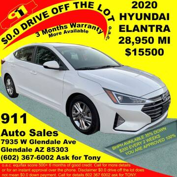 2020 Hyundai Elantra for sale at 911 AUTO SALES LLC in Glendale AZ