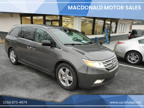 2012 Honda Odyssey for sale at MacDonald Motor Sales in High Point NC