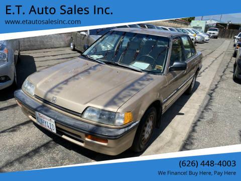 1989 Honda Civic for sale at E.T. Auto Sales Inc. in El Monte CA