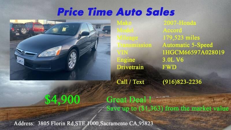 2007 Honda Accord for sale at PRICE TIME AUTO SALES in Sacramento CA