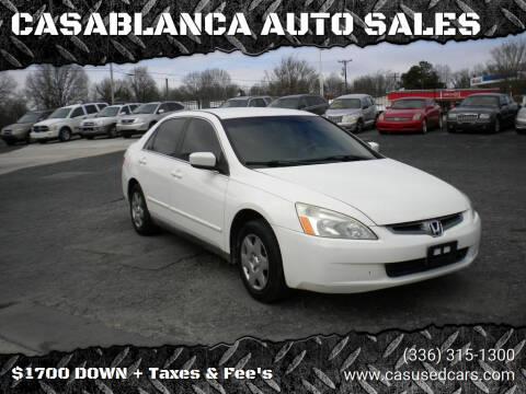 2005 Honda Accord for sale at CASABLANCA AUTO SALES in Greensboro NC