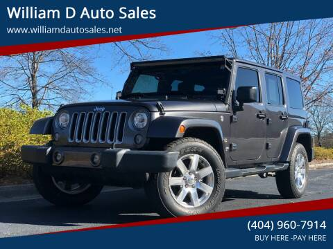 2017 Jeep Wrangler Unlimited for sale at William D Auto Sales in Norcross GA