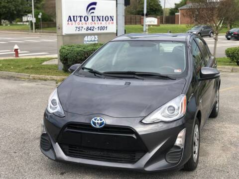 2016 Toyota Prius c for sale at Auto Union LLC in Virginia Beach VA