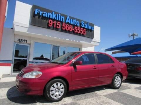 2003 Toyota Corolla for sale at Franklin Auto Sales in El Paso TX