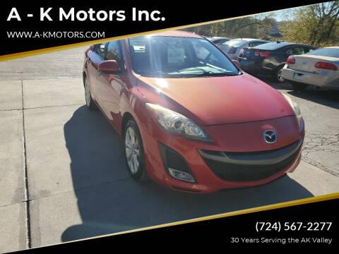 2011 Mazda MAZDA3 for sale at A - K Motors Inc. in Vandergrift PA