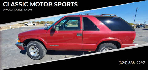 2001 Chevrolet Blazer for sale at CLASSIC MOTOR SPORTS in Winters TX