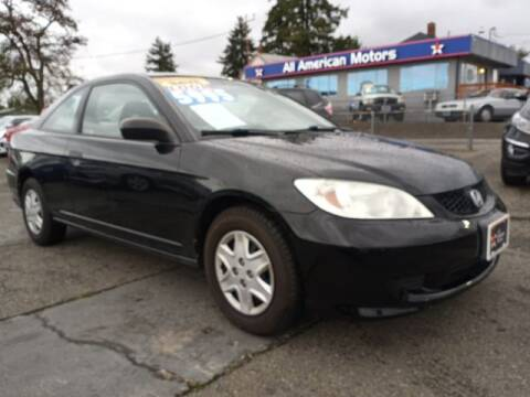 2005 Honda Civic for sale at All American Motors in Tacoma WA