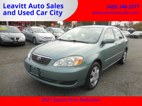2007 Toyota Corolla for sale at Leavitt Auto Sales and Used Car City in Everett WA