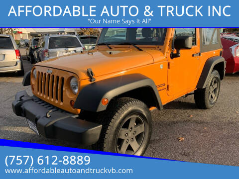 2012 Jeep Wrangler for sale at AFFORDABLE AUTO & TRUCK INC in Virginia Beach VA