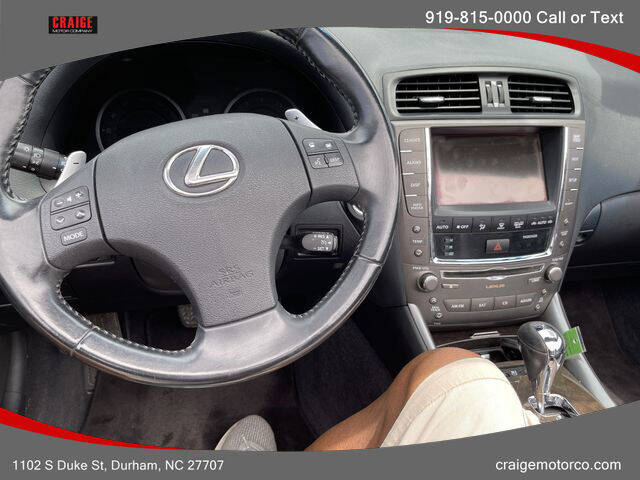 2010 Lexus IS 350C for sale at CRAIGE MOTOR CO in Durham NC