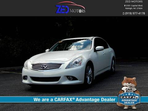 2013 Infiniti G37 Sedan for sale at Zed Motors in Raleigh NC