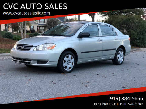 2003 Toyota Corolla for sale at CVC AUTO SALES in Durham NC