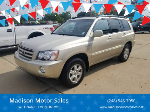 2002 Toyota Highlander for sale at Madison Motor Sales in Madison Heights MI