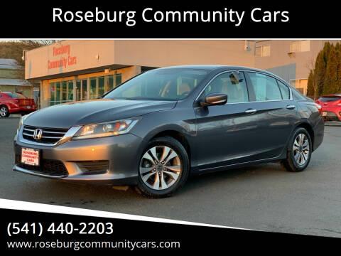 2013 Honda Accord for sale at Roseburg Community Cars in Roseburg OR
