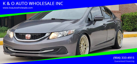 2015 Honda Civic for sale at K & O AUTO WHOLESALE INC in Jacksonville FL