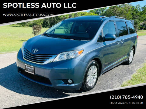 2015 Toyota Sienna for sale at SPOTLESS AUTO LLC in San Antonio TX