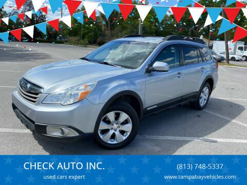 2012 Subaru Outback for sale at CHECK  AUTO INC. in Tampa FL