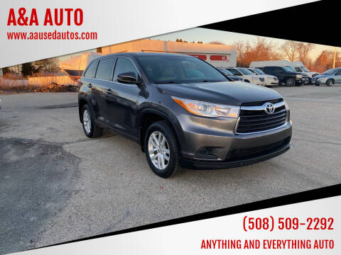 2014 Toyota Highlander for sale at A&A AUTO in Fairhaven MA