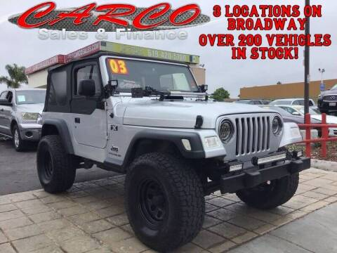 2003 Jeep Wrangler for sale at CARCO SALES & FINANCE #3 in Chula Vista CA
