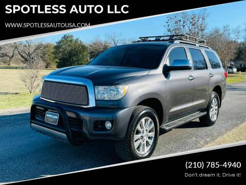 2011 Toyota Sequoia for sale at SPOTLESS AUTO LLC in San Antonio TX