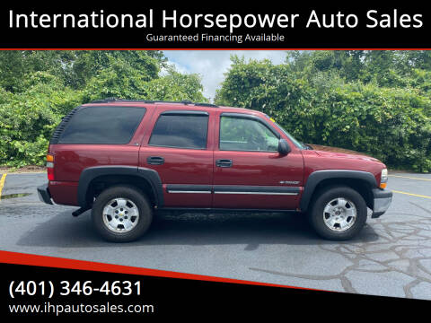 2001 Chevrolet Tahoe for sale at International Horsepower Auto Sales in Warwick RI