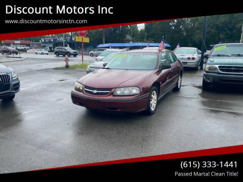 2002 Chevrolet Impala for sale at Discount Motors Inc in Nashville TN
