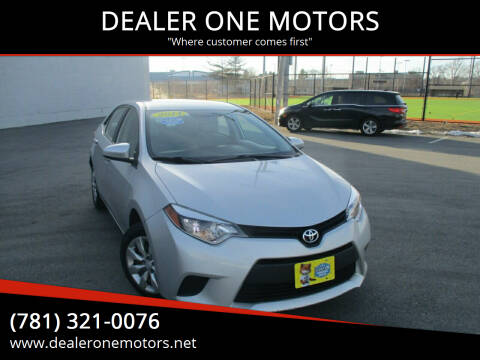 2014 Toyota Corolla for sale at DEALER ONE MOTORS in Malden MA