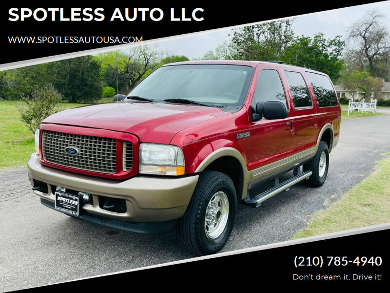 2004 Ford Excursion for sale at SPOTLESS AUTO LLC in San Antonio TX