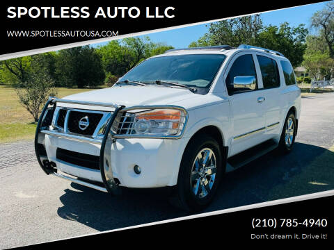 2010 Nissan Armada for sale at SPOTLESS AUTO LLC in San Antonio TX