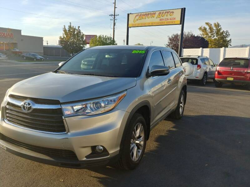 2015 Toyota Highlander for sale at Canyon Auto Sales in Orem UT