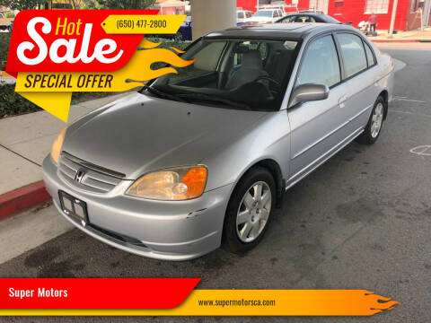 2001 Honda Civic for sale at Super Motors in San Mateo CA