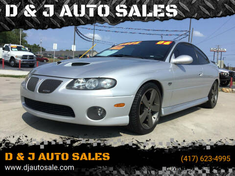 2006 Pontiac GTO for sale at D & J AUTO SALES in Joplin MO