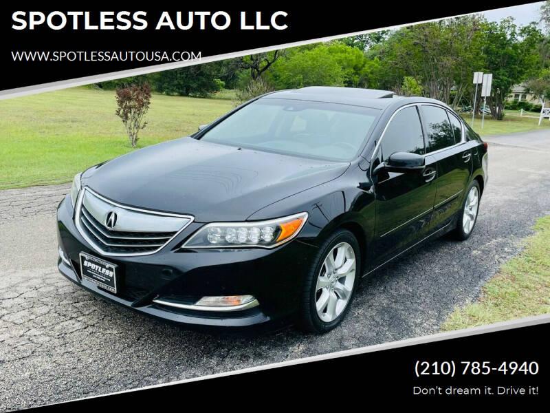 2014 Acura RLX for sale at SPOTLESS AUTO LLC in San Antonio TX