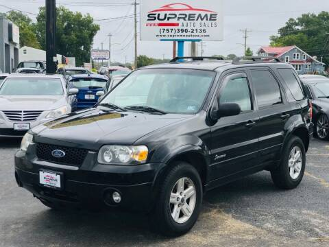 2007 Ford Escape Hybrid for sale at Supreme Auto Sales in Chesapeake VA