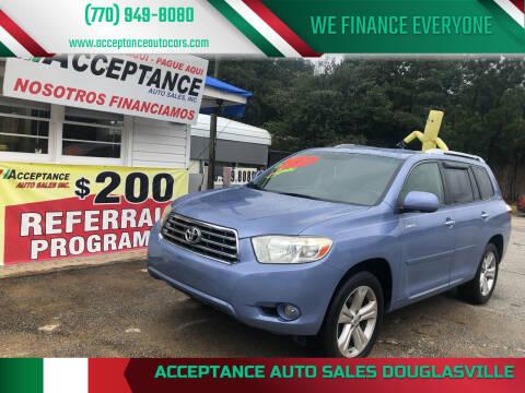 2008 Toyota Highlander for sale at Acceptance Auto Sales Douglasville in Douglasville GA