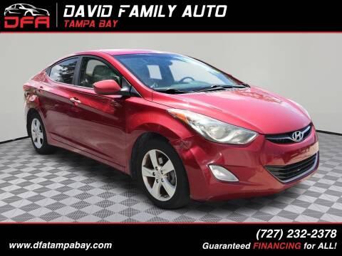 2013 Hyundai Elantra for sale at David Family Auto in New Port Richey FL